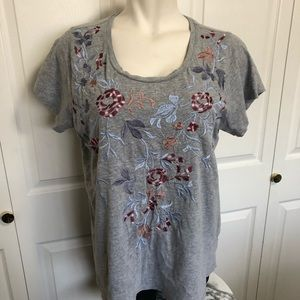 Lucky brand floral embroidered top sz.2X
